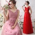 2016 new hot sale robe de soiree V-Neck Evening Dresses Sweet Flowers red lace Party Dress Lace up Formal Vestidos de fiesta