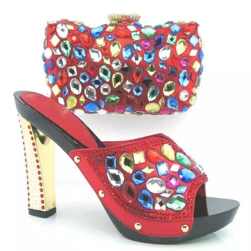 ФОТО HY3011 RED Favorite Design African Shoes And Matching Bag Set For Wedding High Quality Women Shoes And Bags Set