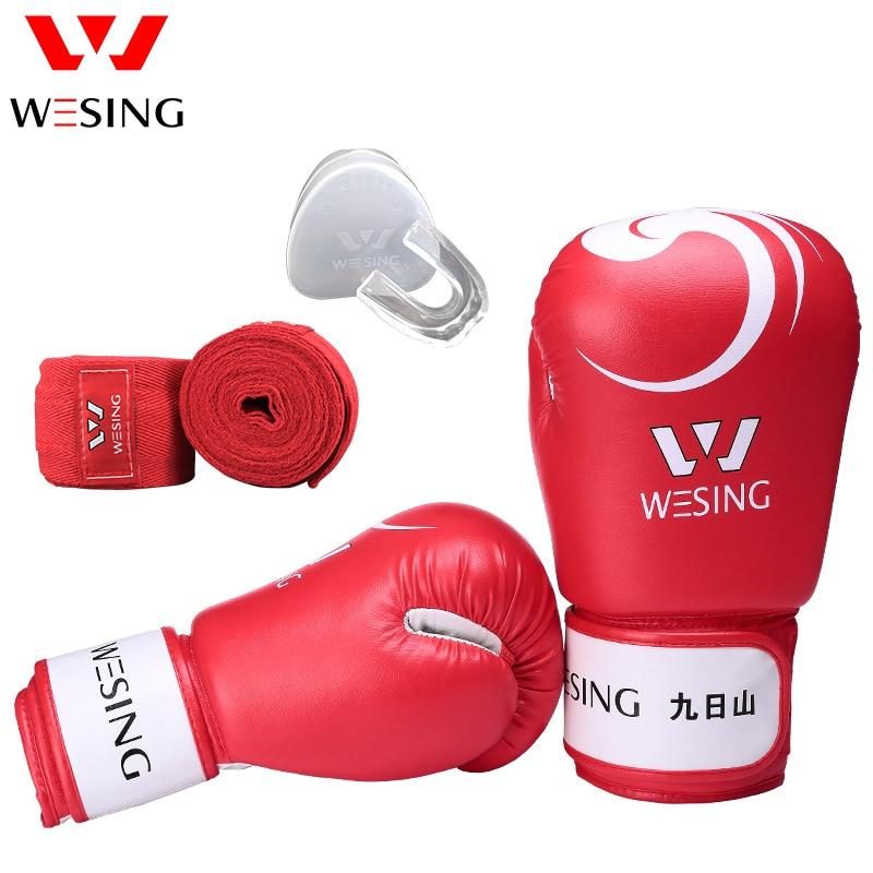 Wesing Боксёрские перчатки для Для женщин и Для мужчин спарринг тренировочные перчатки Капы повязки Муай Тай Стиль боксерский мешок митенки