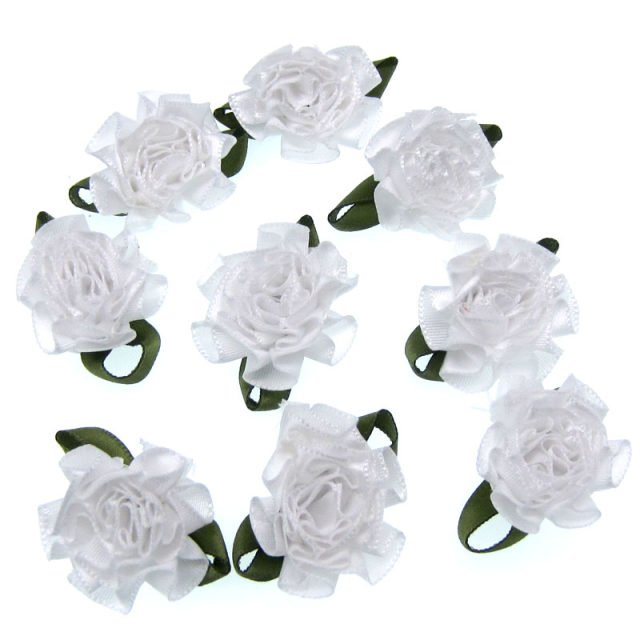 online shop 30pcs 1 white carnation satin fabric flowers leaf