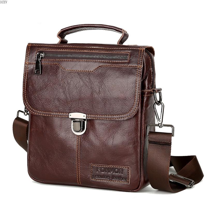 купить ICEV Famous Brand Genuine Leather Casual Men Bag Business Leather Men Messenger Bags Vintage Shoulder Crossbody Bag for Male Sac недорого