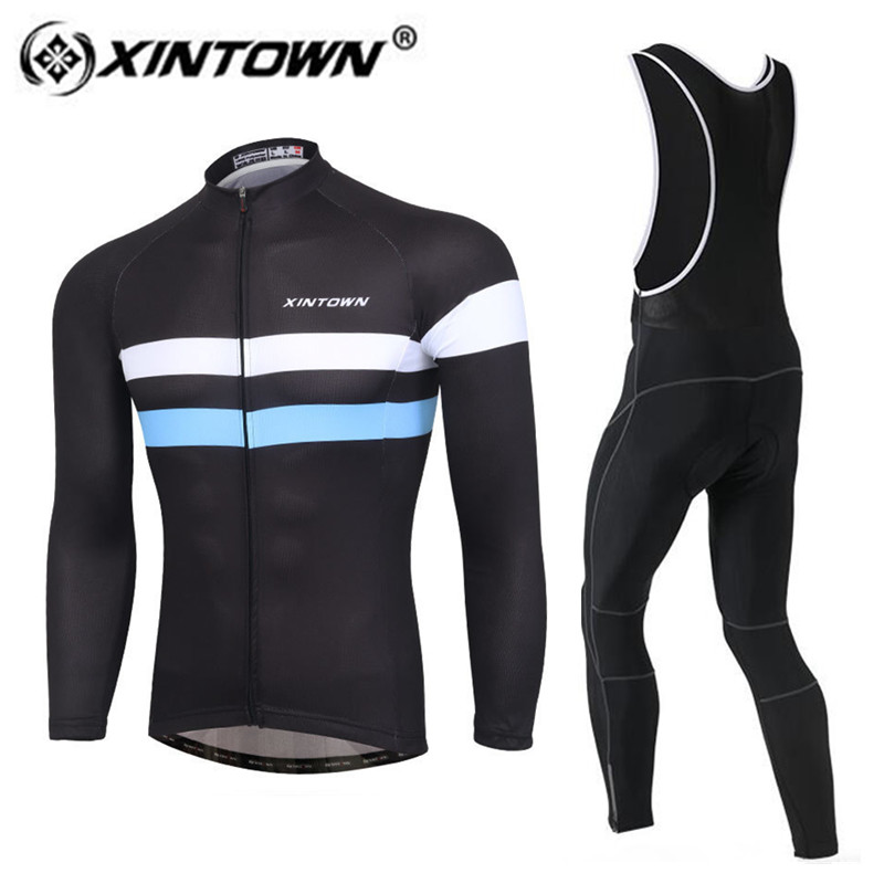 XINTOWN Cycling Jersey 2018 Men Winter Thermal Fleece Long Sleeve Jerseys Cycling Bib Pants Set Bike Bicycle Cycling Clothes 3d silicone cube 2012 team long sleeve autumn bib cycling wear clothes bicycle bike riding cycling jerseys bib pants set