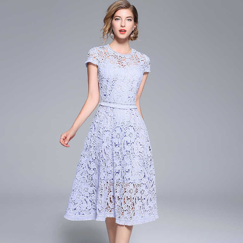 Новый Для женщин платье лоскутное выдалбливают растворимые кисточкой кружевные