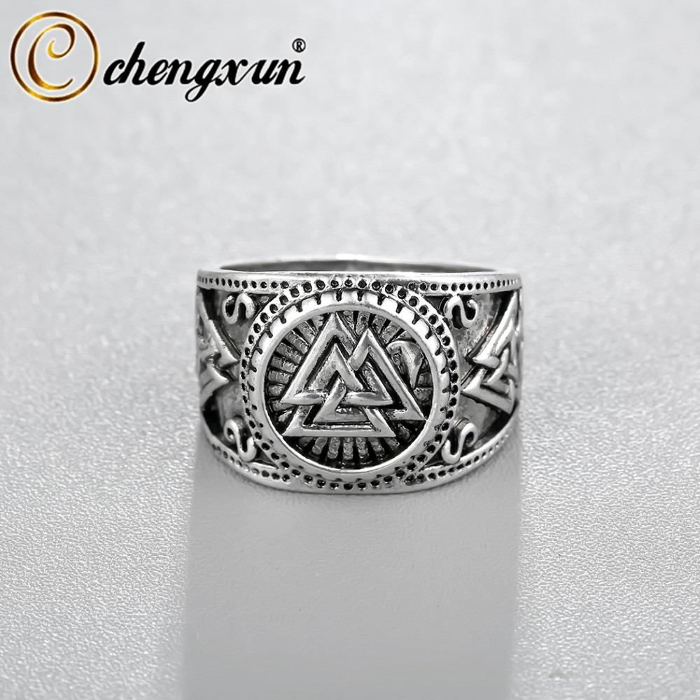 CHENGXUN Viking Round Big Width Signet Ring Finger Men Black Silver Fashion Valknut Wholesale Vintage Jewelry 15mm