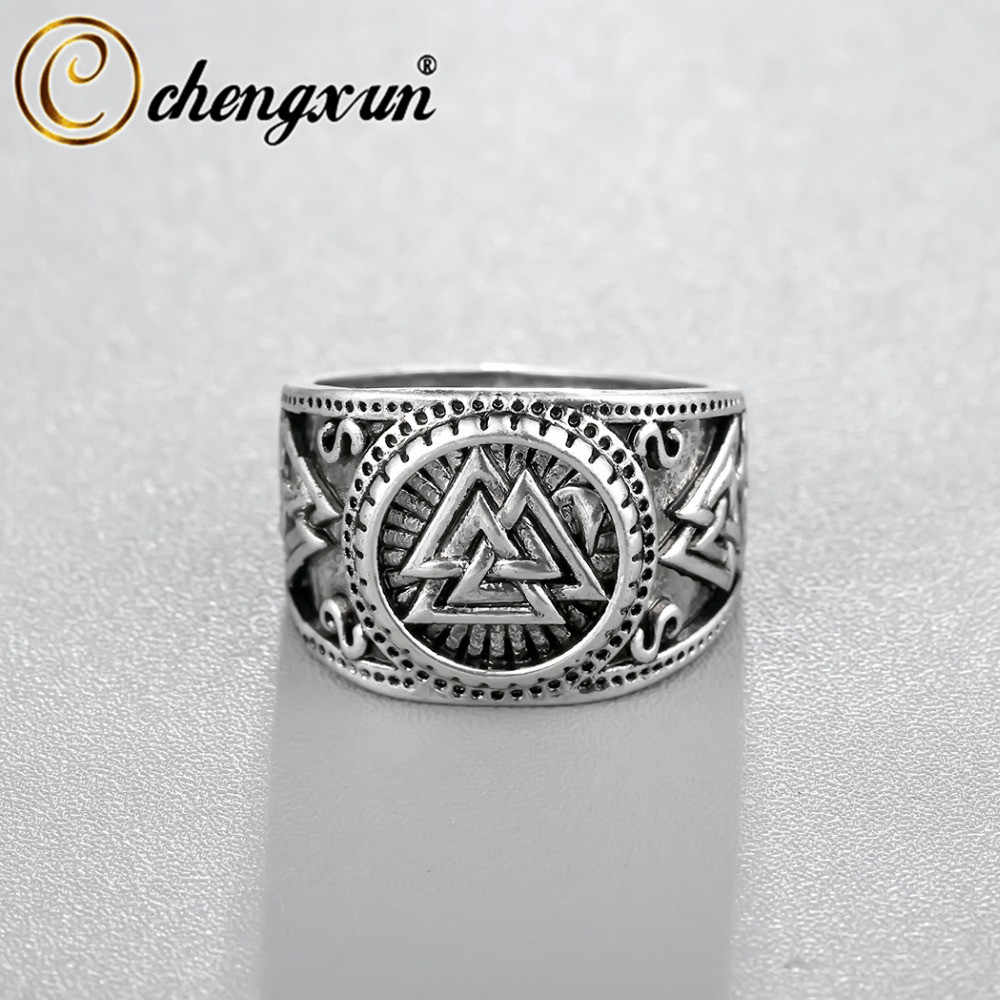 CHENGXUN Viking Round Big Width Signet Ring Finger Men Black Silver Fashion Valknut Wholesale Vintage Jewelry 15mm