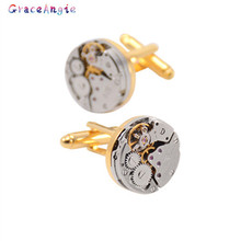 1Pair Watch Movement Cufflinks for immovable Stainless Steel Steampunk Gear Watch Mechanism Cuff links for Mens Relojes gemelos