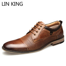 LIN KING Brand Design Big Size Men Genuine Leather Casual Shoes Lace Up Ankle Office Work Dress Man Wedding Party