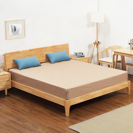 Home Furniture Home Bed Bedroom Furniture Home Furniture Nordic Simple Modern Solid Wood Bed 1.5m/1.8m Double Bed With Mattress& One Nightstand Furniture
