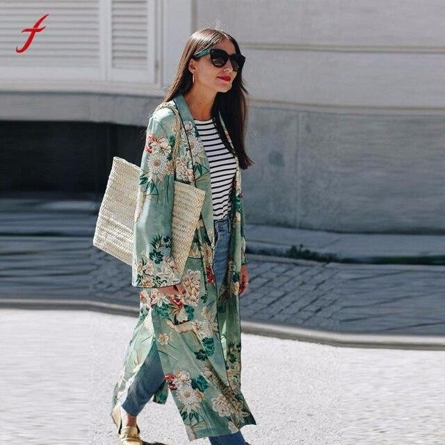 FEITONG Fashion Cardigan Women's Bohemia Floral Tassel Long Kimono  Oversized Shawl Tops Dames Mode Vest