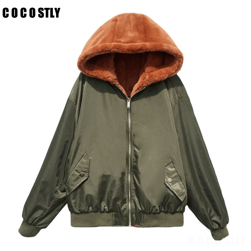 Winter coat women jackets and coats female coat Fur Hooded military green bomber jacket women basic jackets