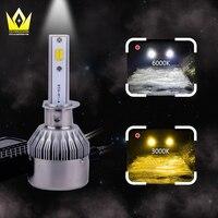 Yeni tasarım araba led far H1 h3 h7 h8 h9 h11 PGJ19 beyaz/sarı çift renk LED Farlar Ampul Sis Işık 12 v 24 v 4000lm