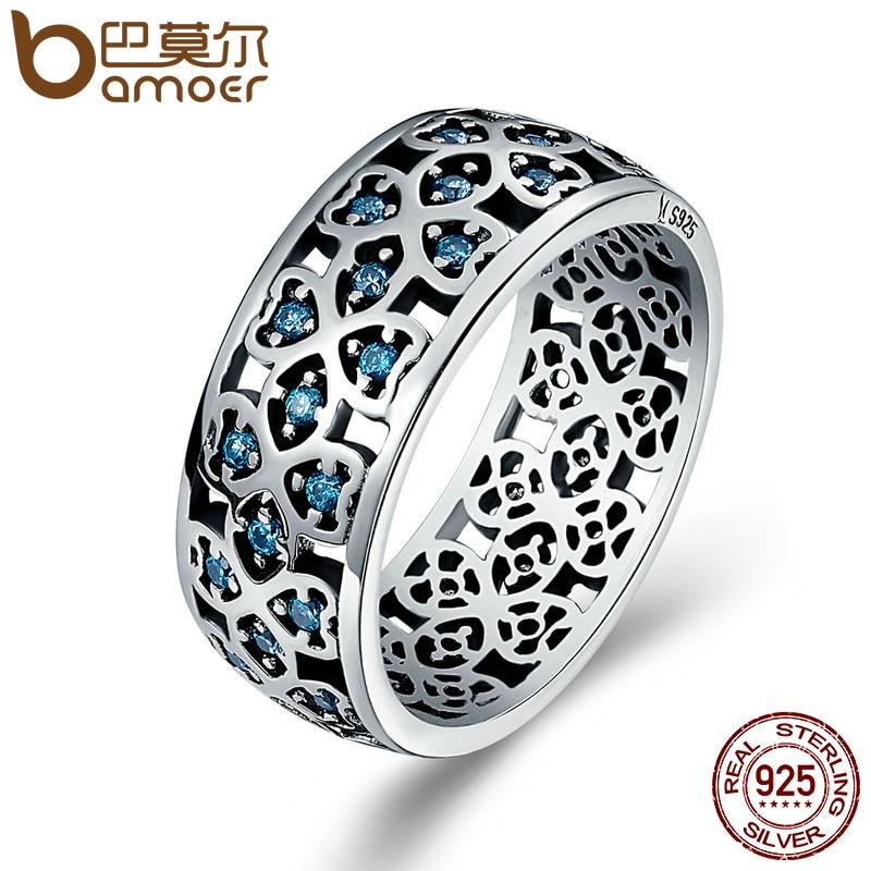 BAMOER 100% 925 Sterling Argent Pétales de L'amour Doux Trèfle bleu CZ Bagues pour les Femmes de Fiançailles Bijoux S925 Cadeau SCR064