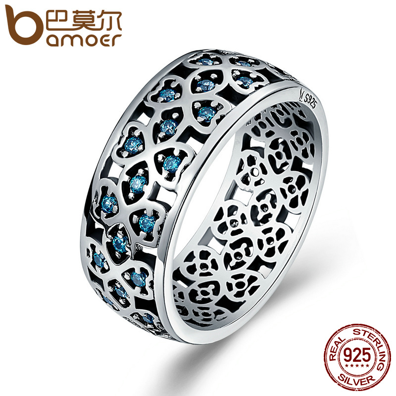 BAMOER 100 925 Sterling Silver Petals Of Love Sweet Clover Blue CZ Finger Rings For Women