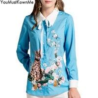 YouMustKnowMe women 2018 new runway fashion long sleeve blouse cat print retro style women blouses plus size 3xl female blouse
