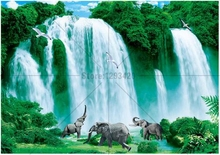 5D Diy  full diamond painting beautiful waterfall and elephant embroidery mosaic resin rhistonesnes handmade paste needlework