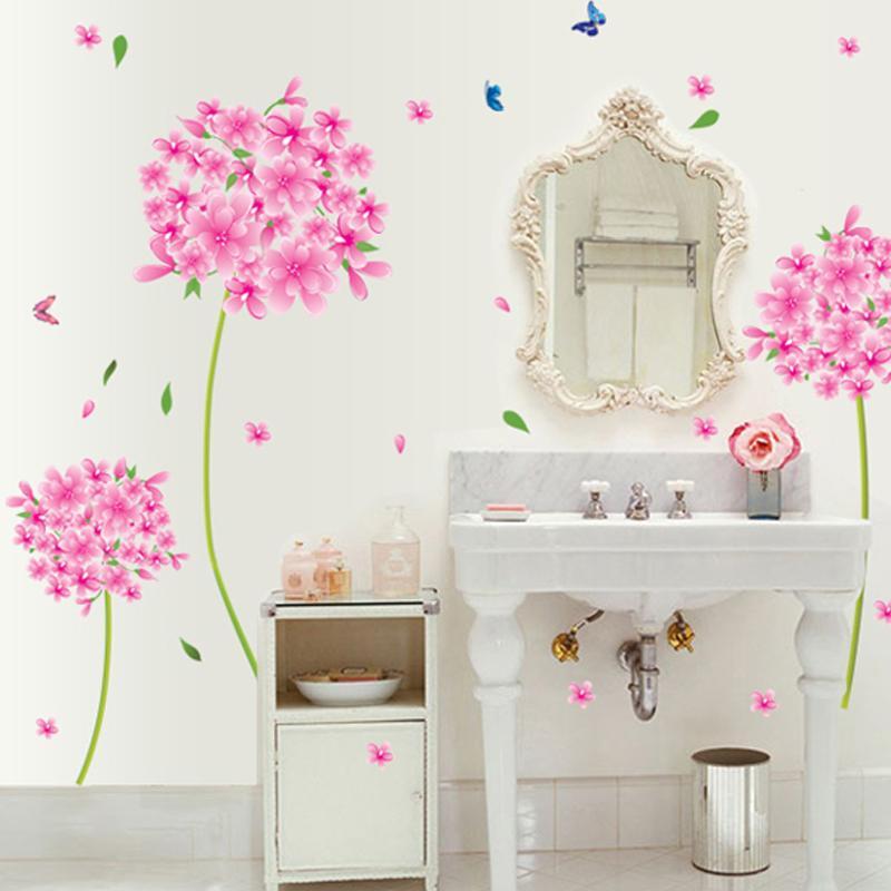 Rosa Diente de León flor amor Pared de Vinilo Pegatinas Home Decor Art Decals Wallpaper Dormitorio Sofá casa decoración adesivo de parede