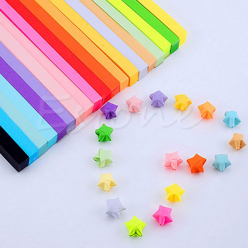 90PcFolding Best Wishes Candy Colors Origami Lucky Wish Star Paper Strips Paper D14