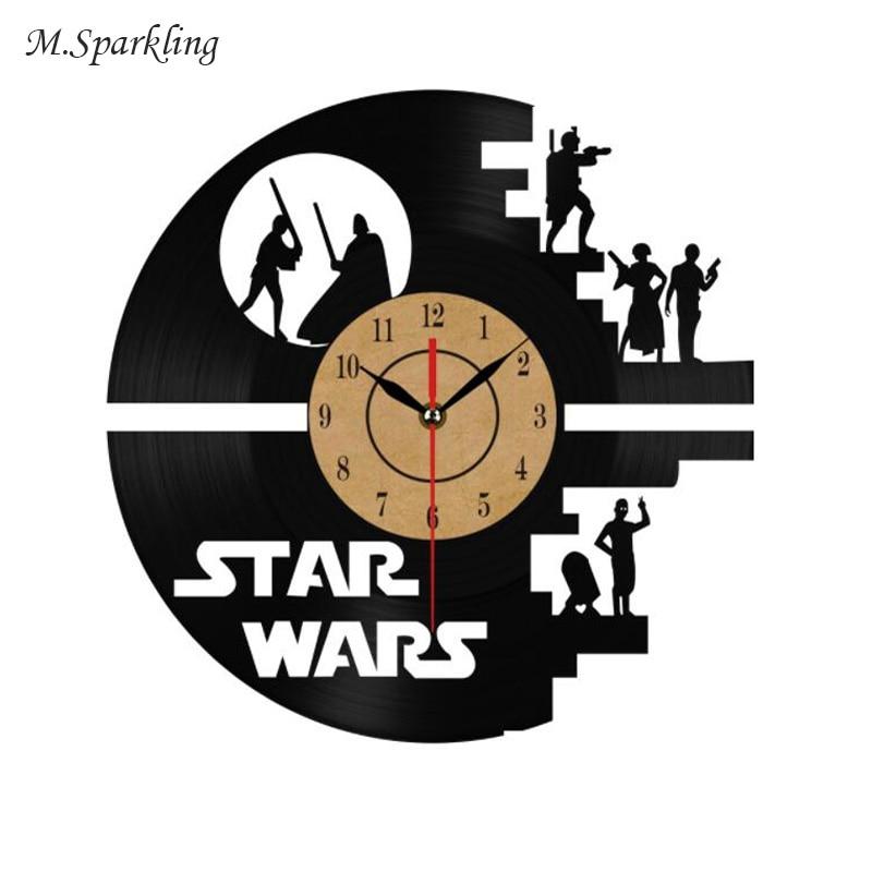 Fashion Creative Clock CD Vinyl Record Wall Clock Film STAR WARS Theme Home Decor 3D Hanging Watches Duvar Saat Home Decoracion