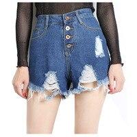 HAPPY WALK Women Vintage Ripped Hole Fringe Blue Denim Shorts Women Casual Pocket Jeans Shorts 2017
