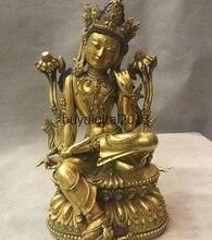 10 Тибет Буддизм Храм Бронзовый Золото Гуаньинь быстро Кван-инь Бодхисаттва Статуя