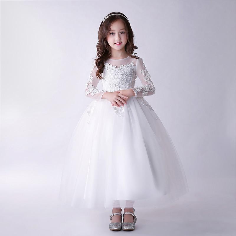 White Long Flower Girl Wedding Dress Kid 3/4 Sleeve Elegant Vestido De Festa Longo 4 6 8 10 12 14 Years Old Girls Clothes 184065 коктейльное платье brand new 3 4 vestido festa j008