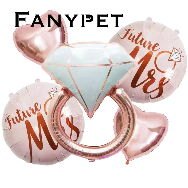 1/5pcs Diamond Ring Foil Balloon 22inch Rose Gold Bride to Be Balloon Letter Balloon Bridal Shower Wedding Engagement Decoration