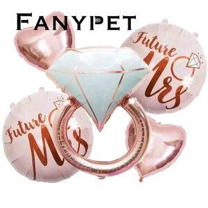 Image 1 - Anillo de aluminio de diamante de 22 pulgadas para decoración, globo con letras de oro rosa de 22 pulgadas, para boda, compromiso