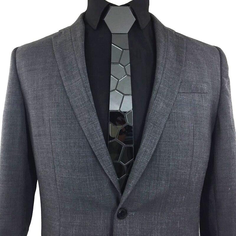 Cores da Moda Laços de Cetim de Seda Espelho Acrílico Preto Bling Hextie Stylish Men Slim 6cm Casamento Negócios Gravata Casual 5 Que