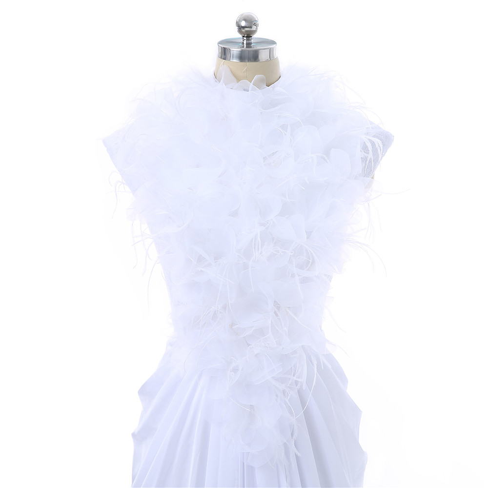 White 2018 Celebrity Dresses Mermaid Cap Sleeves Chiffon Feather Open Back Women Long Evening Dresses Red Carpet Dresses