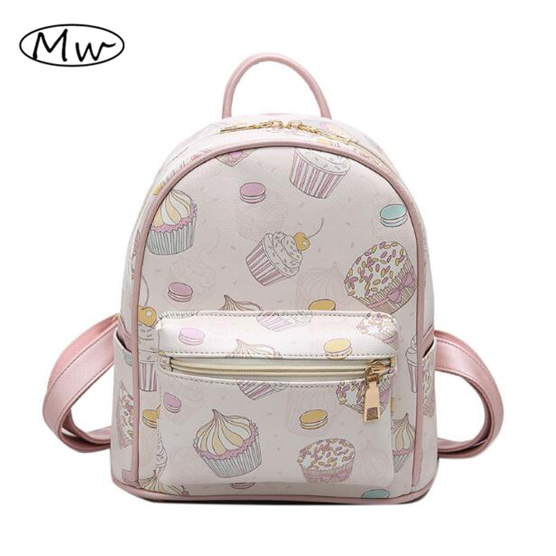 Women Backpack Small 2017 Ice Cream Printing Backpack School Bags For Teenager Girls Preppy Style Students