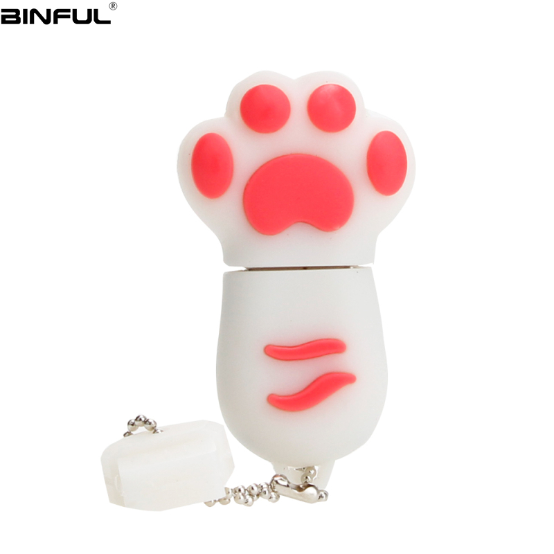 Image 3 - Hot Sale Cat Paw Usb Flash Drive 32GB 64GB 128GB Pendrive 4G 8GB 16GB Lovely Cartoon Pen Drive High Quality Silicone Memoria Usb-in USB Flash Drives from Computer & Office