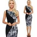 5XL Плюс Размер O-образным Вырезом Без Рукавов Женщины Карандаш Bodycon Платье Элегантных Женщин Черный Лоскутное ПР Бизнес-Офис Платья 4XL