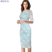 ROSICIL Womens Elegant Delicate Floral Lace Casual Party Evening Bodycon Dress Special Occasion Bridemaid Mother Of