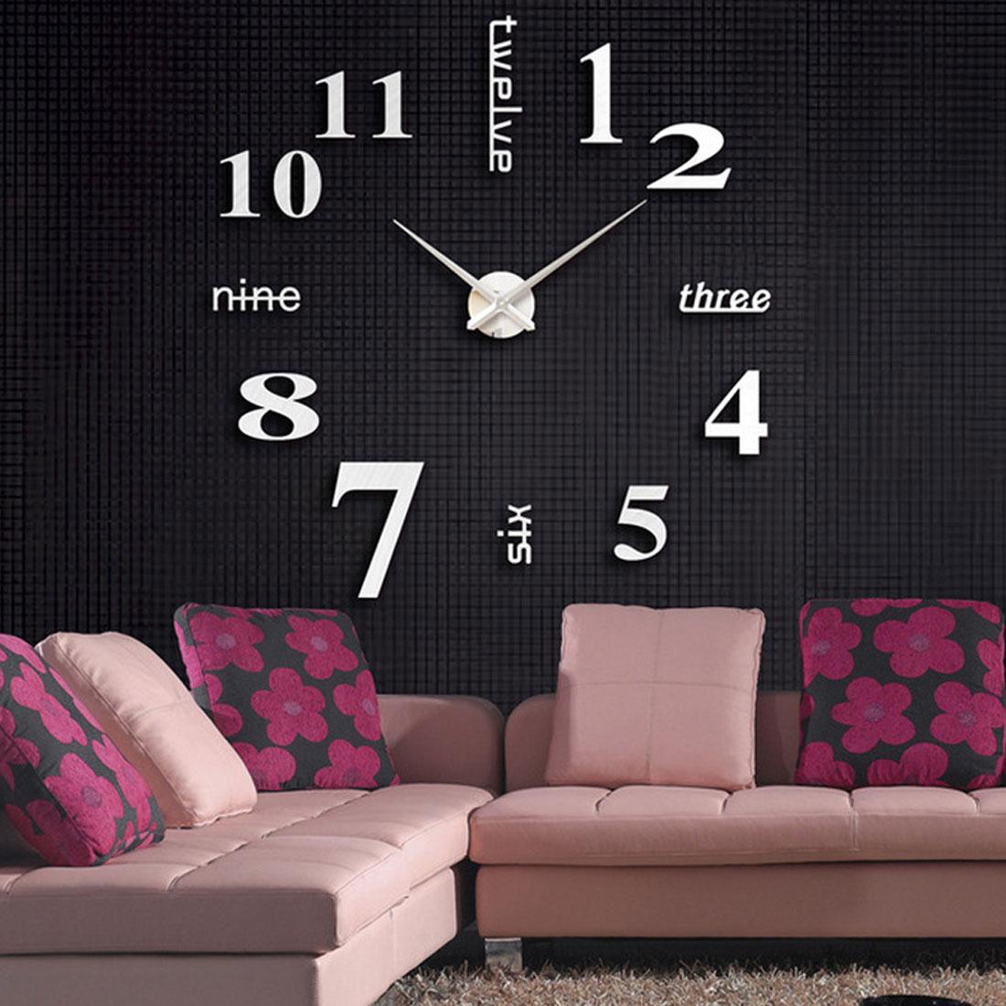 DIY Quartz clocks fashion watches 3D real big wall clock rushed mirror sticker diy living room decor free shipping in Wall Clocks from Home Garden