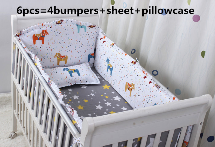 Promotion! 6PCS Winter Unisex Cotton Baby Bedding Sets For Crib Baby Bumpers,include(bumpers+sheet+pillow Cover)