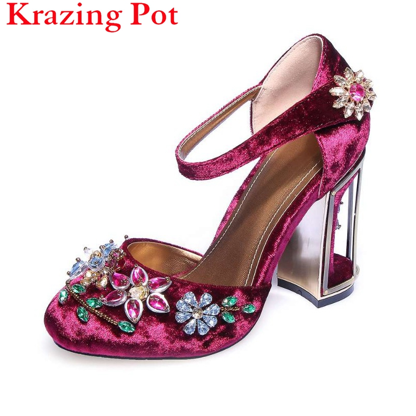 Superstar Shoes Beading Flower Crystal Bird Cage High Heels Round Toe Velvet Women Pumps Brand Shoes Luxury big Size Sandals L70 women luxury national trend cutout metal bird cage vintage rhinestone high heels velvet gem flower female high heeled shoes