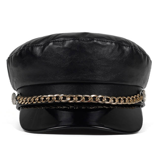 6f7b1b824 Fashion Black Hat Cap Women Casual Streetwear rope flat cap Elegant solid  Autumn winter Warm Beret Hat Female