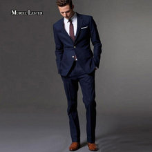 Muriel Lester Dark Blue Men Suit Slim Fit Groom Tuxedos Tailor Made Suit Bespoke Light Navy Blue Wedding Suits For Men 2018(China)