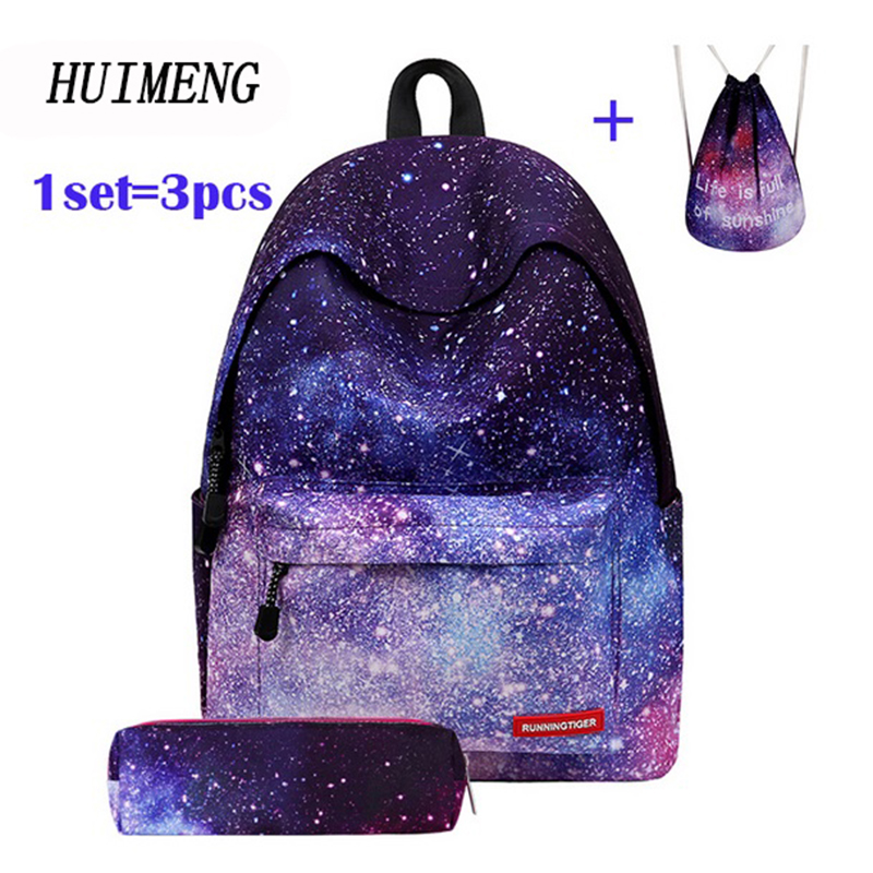 HUIMENG Backpack Universe Space Unicorn Backpack With Drawstring Bag and Pensil Case 3pcs Sets High Quality mochila feminina