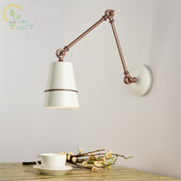 Modern Adjustable Led Wall Lamps LED Wall Sconce White Metal Wall light Bedside Lamps For Home Reading Lighting Fixtures