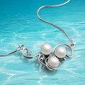 Estilo retro colar clavícula corrente de prata 925 pingente