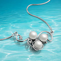 Free shipping retro elegance pearl necklace collarbone chain 925 sterling silver pearl pendant