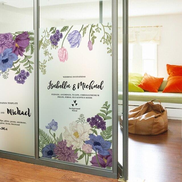 Electrostatic flower window glass sticker bedroom decorative foil smooth transparent bathroom sunscreen