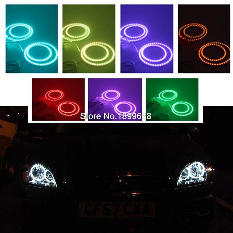 Super bright 7 color RGB LED Angel Eyes Kit with control car styling For Ford Focus II Mk2 2004 2005 2006 2007 2008 Europe 2pcs super bright rgb led headlight halo angel demon eyes kit with a remote control car styling for ford mustang 2010 2012