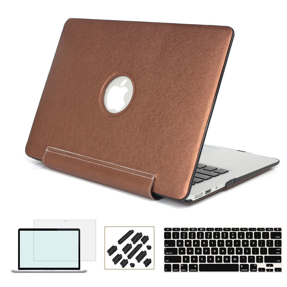 RYGOU Premium PU Leather Coated PC Hard Case with Keyboard Cover Screen Protector for MacBook Air 13 11 Pro Retina 12 13 15 Inch cute kawaii pencil case school pencil bag korean stationery pu leather pen bags box for boys girls
