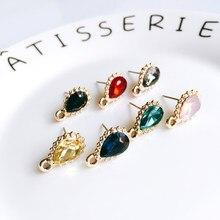 Zeroup strass cor de ouro chapeado brincos do parafuso prisioneiro eardrop para feminino menina jóias componente diy material feito à mão 6 pçs