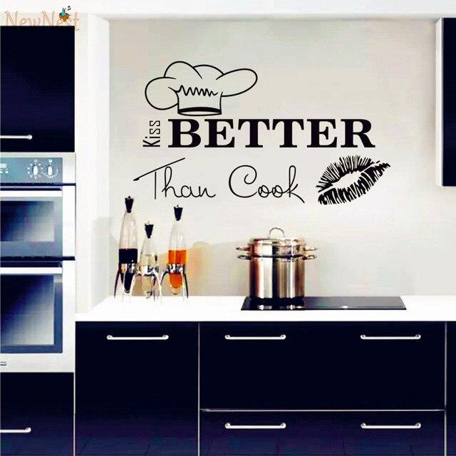 Wandtattoos Zitat Ich Küsse Besser Als Koch Küche Wand Design Innen ...
