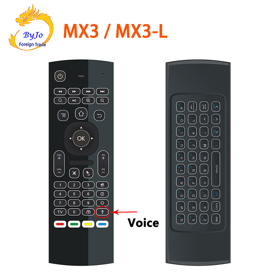 лучшая цена MX3 MX3-L Air Fly Mouse 2.4GHz Wireless Keyboard Remote Control Somatosensory IR Learning Mic for Android TV Box