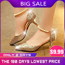 Sexy Pointed Toe Pearl High Heels Shoes Female Fashion Hollow with Sandals Paillette of The Thin Breathable Shoes Women Pumps the pearl is high with the female sandals 2017 new fashion fine with banquet sexy diamond open toed wedding shoes 34 40 yards