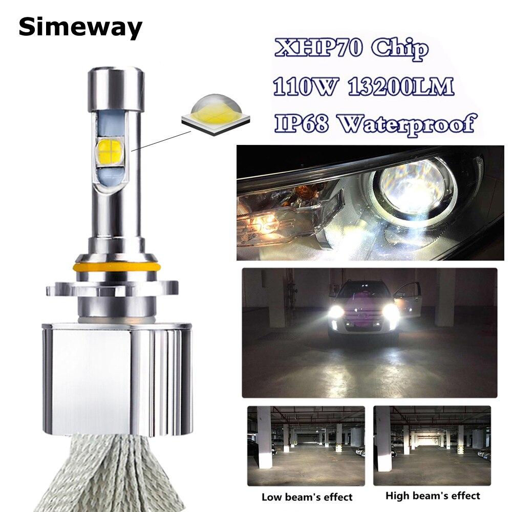 Car xhp70 LED HB3 9005 Headlight Kit 6000K 55W 6600LM super LED H11 H4 H7 H8